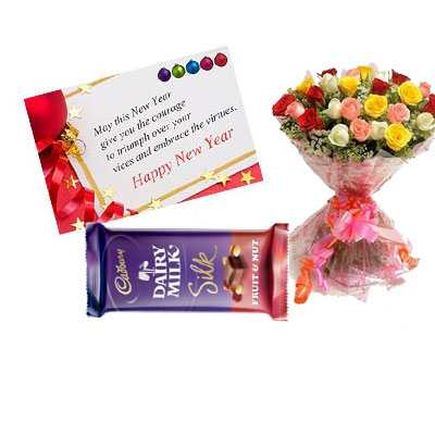 New Year Card with Mix Roses & Dairy Milk Silk