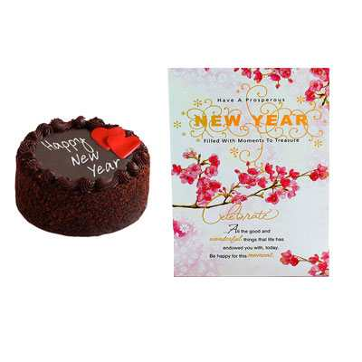 New Year Chocolate Cake and Card