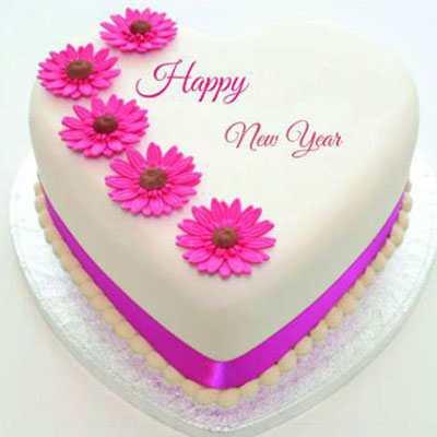 New Year Heart Shape Pineapple Cake