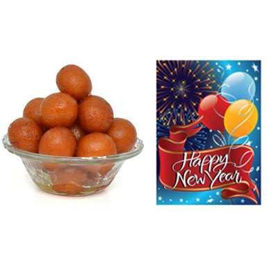 Gulab Jamun with New Year Card