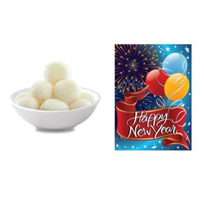 Rasgulla with New Year Card
