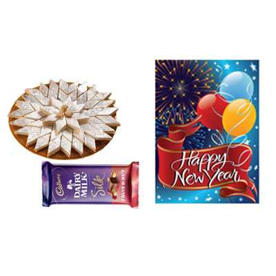 Kaju Burfi with New Year Card & Silk