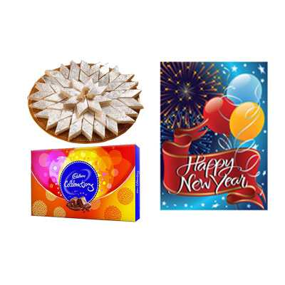 Kaju Burfi with New Year Card & Celebration