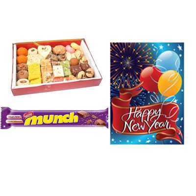 Mixed Sweets with New Year Card & Munch