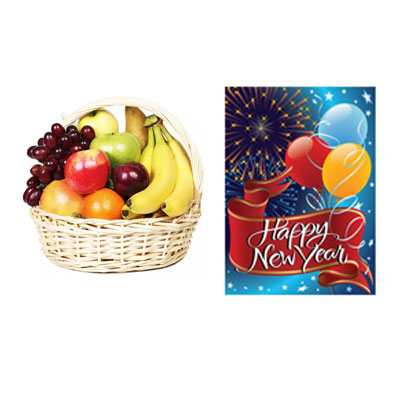 Fresh Fruits with New Year Card
