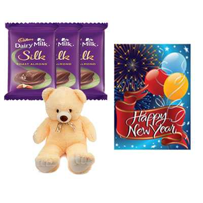 Cadbury Silk with Card & Teddy Bear