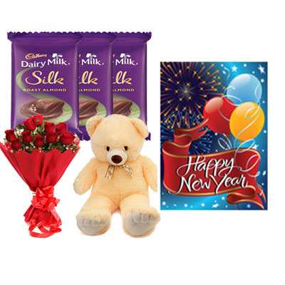 Cadbury Silk, Roses Bouquet, Card & Teddy Bear