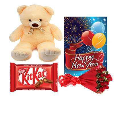 Kitkat, Roses Bouquet, Card & Teddy Bear