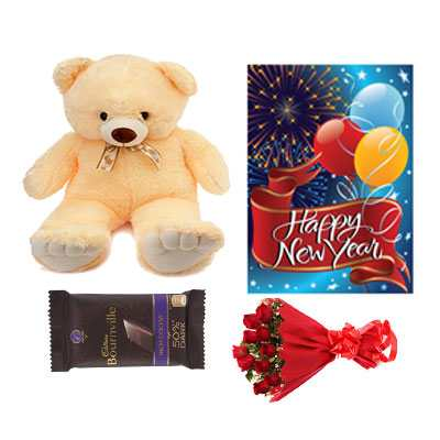 Bournville Chocolates, Roses Bouquet, Card & Teddy Bear