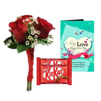Bouquet, Kitkat & Rose Day Greeting Card