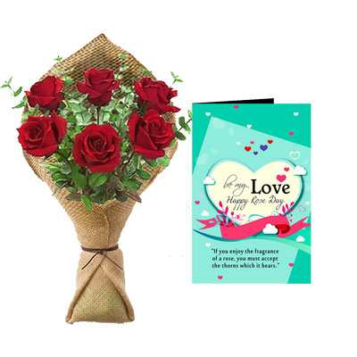 Rose Bouquet & Rose Day Greeting Card