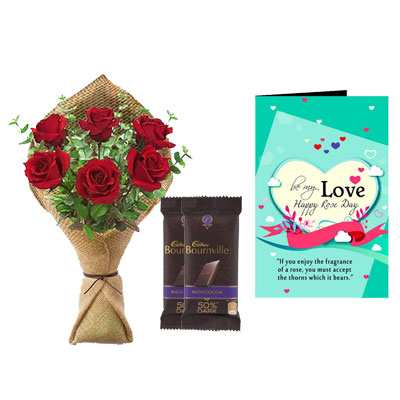 Rose Bouquet, Bournville & Rose Day Greeting Card