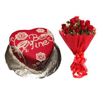 Be Mine Valentine Cake & Bouquet