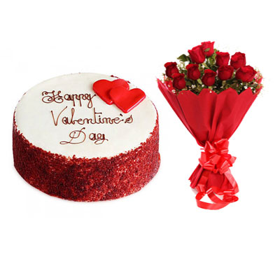 Happy Valentine Red Velvet Cake & Bouquet