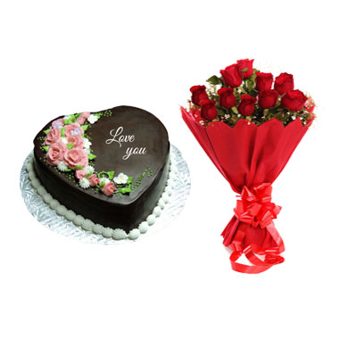 I Love You Chocolate Heart Shape Cake & Bouquet