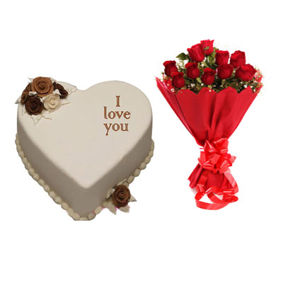 I Love You Vanilla Heart Shape Cake & Bouquet