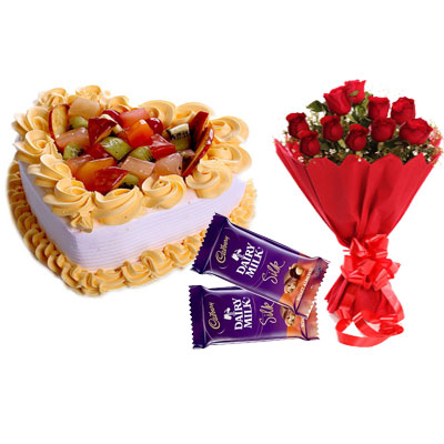 Fruit Heart Shape Cake, Bouquet & Silk