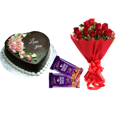 I love You Chocolate Heart Shape Cake, Bouquet & Silk
