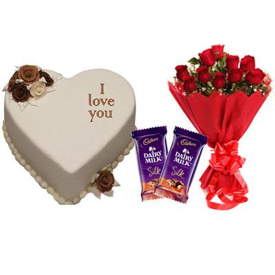 I Love You Vanilla Heart Shape Cake, Bouquet & Silk