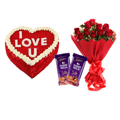 Love U Valentine Red Velvet Heart Shape Cake, Bouquet & Silk