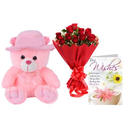 16 Inch Teddy with Bouquet & Card