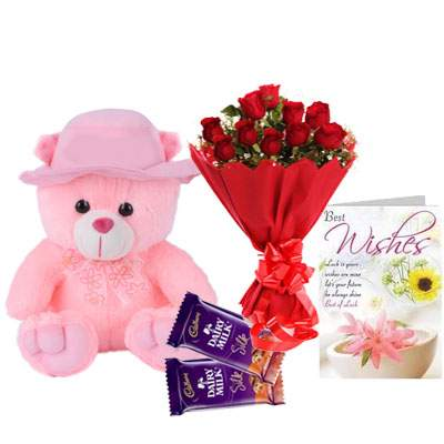 16 Inch Teddy with Bouquet, Silk Chocolate & Card