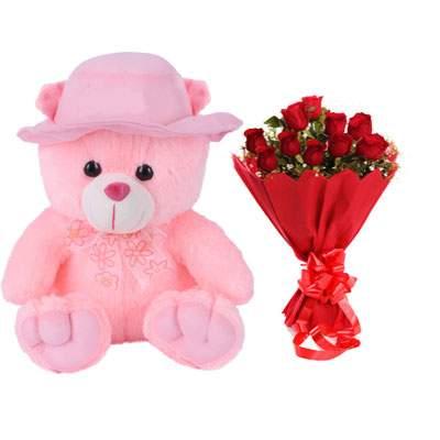 16 Inch Teddy Bear with Bouquet