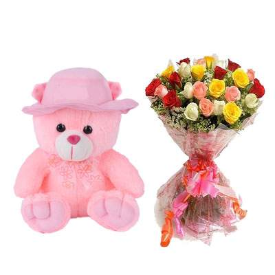 16 Inch Teddy with Mix Roses