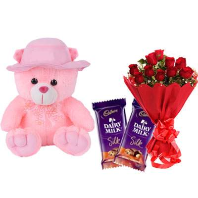 16 Inch Teddy with Silk & Bouquet