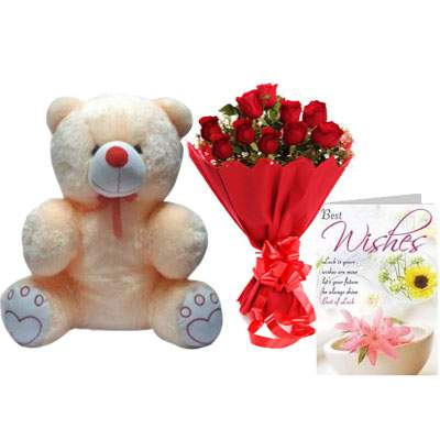 20 Inch Teddy Bear with Bouquet & Card