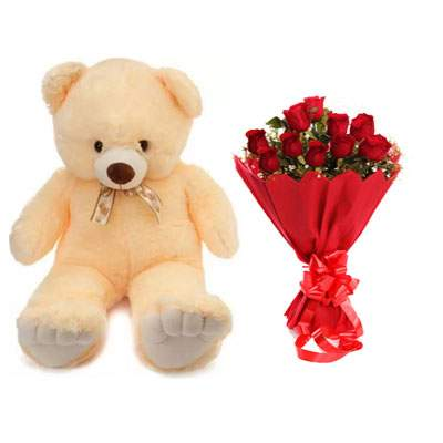 24 Inch Teddy with Bouquet