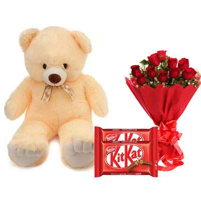 24 Inch Teddy with Kitkat & Bouquet