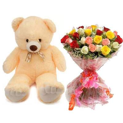 24 Inch Teddy with Mix Bouquet