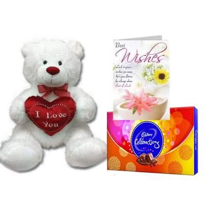 30 Inch Teddy with Celebration & Card