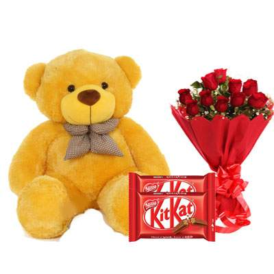 36 Inch Teddy with Kitkat & Bouquet