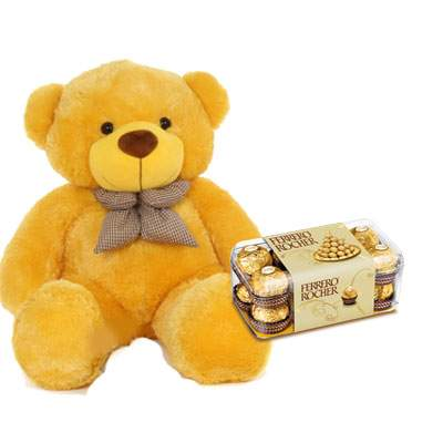 36 Inch Teddy with Ferrero Rocher