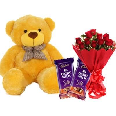 36 Inch Teddy with Silk & Bouquet