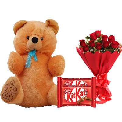40 Inch Teddy with Kitkat & Bouquet