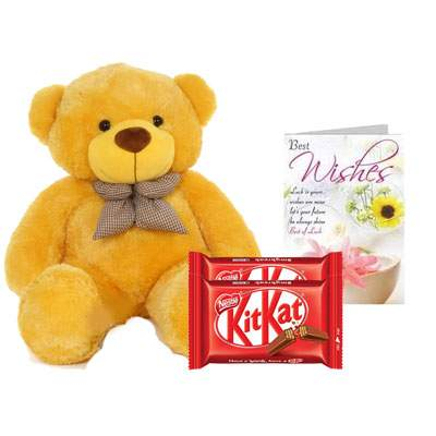 36 Inch Teddy with Kitkat & Card