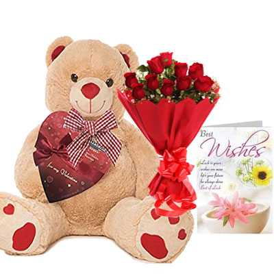 Big Teddy with Bouquet & Card