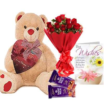 Big Teddy with Bouquet, Silk & Greeting