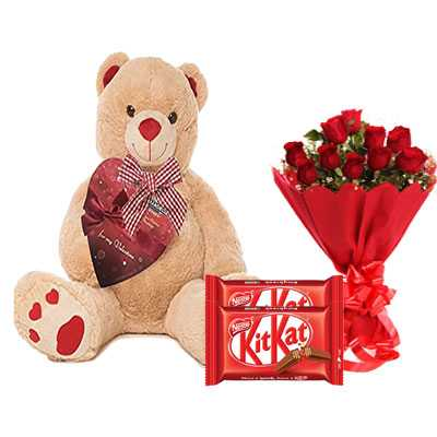 Big Teddy with Kitkat & Bouquet