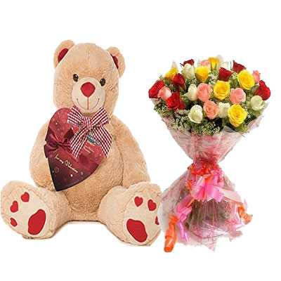 Big Teddy with Mix Bouquet