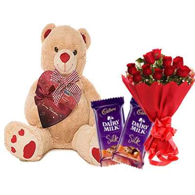 Big Teddy with Silk & Bouquet
