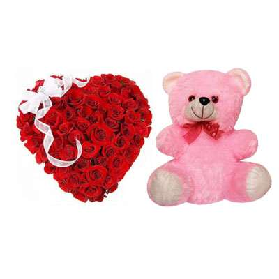 Red Rose Heart Arrangement with Teddy