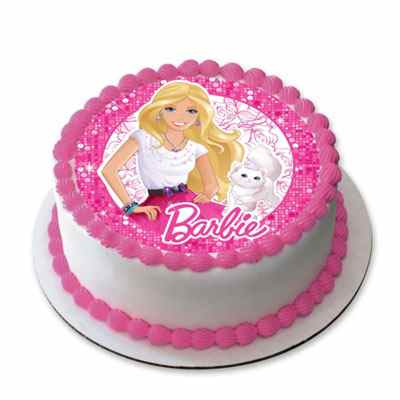 Strawberry Barbie Doll Photo Cake