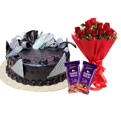 Chocolate Cream Cake, Bouquet & Silk