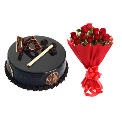 Chocolate Royal Cake & Bouquet