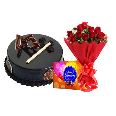 Chocolate Royal Cake, Bouquet & Cadbury