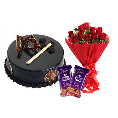 Chocolate Royal Cake, Bouquet & Silk